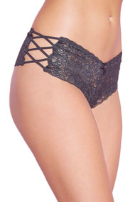Black Liza Criss Cross Side Lace Cheeky Panty Plus