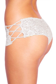 White Liza Criss Cross Side Lace Cheeky Panty Plus Size