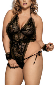 Amber Black Lace Plunging Ruffle Teddy Plus Size