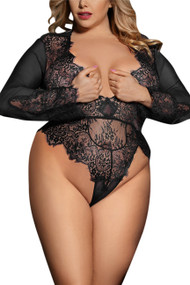Liz Black Long Sleeve Eyelash Glam Teddy Plus Size