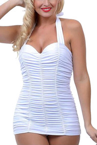 Bettie White Pin-up One Piece Ruched Retro Vintage Swimsuit