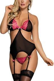 Rosie Pink Black Garter Camisole