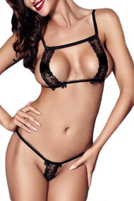 Alicia Keyhole Lace Cupless G string Bra Set