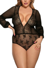 Alma Black Lace Long Sleeve Teddy Plus Size