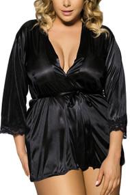 Simone Black Satin Robe Set Plus