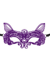 Clara Kitty Purple  Gothic Lace Masquerade Venetian Eye Mask
