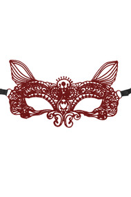 Clara Maroon Kitty Purple  Gothic Lace Masquerade Venetian Eye Mask