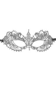 Silver Natalie Gothic Lace Masquerade Venetian Eye Mask