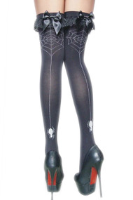 Spider Seamed Gothic Halloween Thigh Stockings