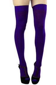 Plum Opaque Thigh Stockings