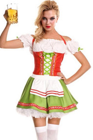 Adeline Orange Green Beer Maid Costume