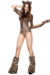 Furry Deluxe Leopard Metallic Bronze  Romper Costume