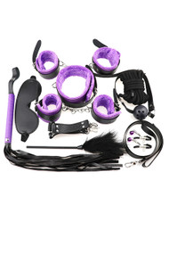 Purple Faux Leather Fur Lined 13 piece Beginner's Bondage Kit