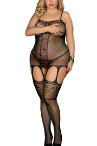 Red Lace-up Fishnet Garter Body Stockings Plus Size