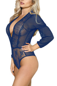 Alma Navy Blue Lace Long Sleeve Teddy