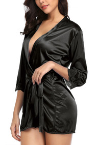 Simone Black Satin Robe Set