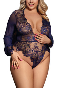 Liz Midnight Blue Long Sleeve Eyelash Glam Teddy Plus Size