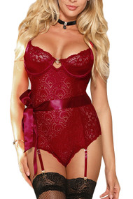 Mica Maroon Lace Underwire Teddy Bodysuit
