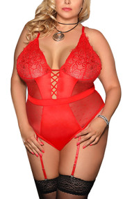 Josie Red Satin Retro Polkadot Sheer Garter Teddy Plus Size