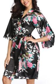 Black Satin Floral Japanese Kimono Midi Robe
