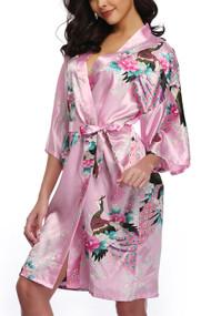 Pink Satin Floral Japanese Kimono Midi Robe