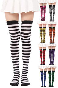 Black Color Contrast Stripes Over the Knee Costume Socks