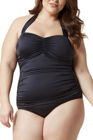 Marilyn Black Halter One Piece Retro Swimsuit Plus Size