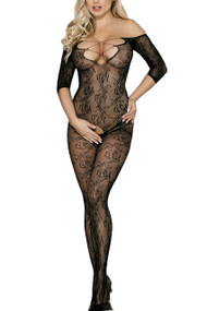 Black Off Shoulder Floral Fishnet Body Stockings