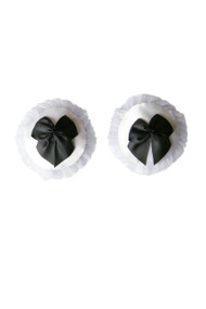 French Maid White Satin Black Bow Nipple Pasties
