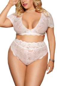 Helena White Lace Cropped Bralette High Waist Thong Lingerie Set Plus Size