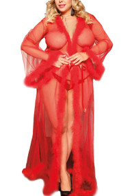 Red Old Hollywood Sheer Marabou feather Long Robe Gown Plus Size