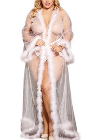 White Old Hollywood Sheer Marabou feather Long Robe Gown Plus Size