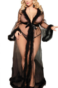 Black Old Hollywood Sheer Marabou feather Long Robe Gown Plus Size