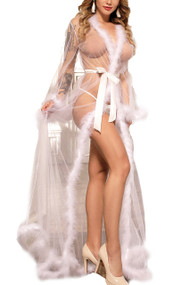 White Old Hollywood Sheer Marabou feather Long Robe Gown