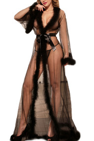 Black Old Hollywood Sheer Marabou feather Long Robe Gown