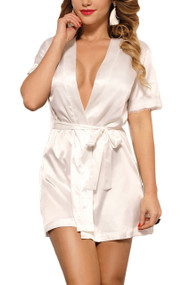 Laurie White Satin Back Lace Robe Set