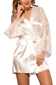 Emy White Satin Lace Sleeves Robe Set