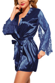 Emy Blue Satin Lace Sleeves Robe Set
