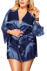 Emy Blue Satin Lace Sleeves Robe Set Plus Size