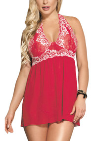 Red Ada Embroidered Halter Lace Babydoll