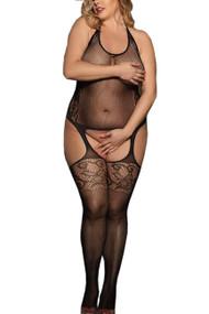 Lexi Halter Fishnet Garter Body Stockings Plus