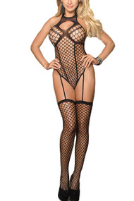 Louise Fencenet Halter Teddy Faux Garter Body Stockings Plus