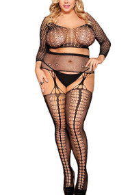 Alice Long Sleeve Cropped Fishnet Garter Body Stockings Plus