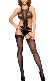 Lorena Teddy Cutout Side Fishnet Body Stockings