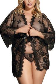 Debbie Sheer Eyelash Lace Kimono Robe Plus Size