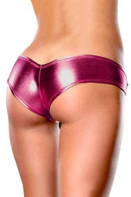 Pink Metallic Wet Look Vinyl Pole Dance Stripper Booty Panty