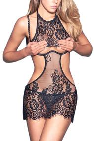 Sylvia Black Lace Cutout Chemise