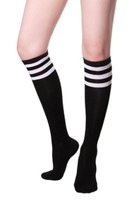 Black Sporty Soccer Knee Socks