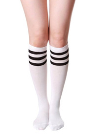 White Sporty Soccer Knee Socks