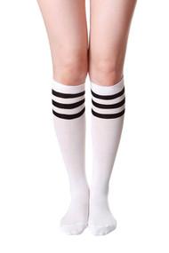 White Sporty Soccer Knee Socks